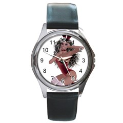Miss Bunny In Red Lingerie Round Leather Watch (silver Rim) by goldenjackal