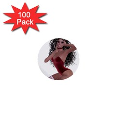 Miss Bunny In Red Lingerie 1  Mini Button (100 Pack) by goldenjackal