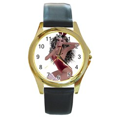 Miss Bunny In Red Lingerie Round Leather Watch (gold Rim)  by goldenjackal