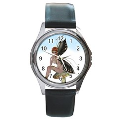 Fairy Sitting On A Mushroom Round Leather Watch (silver Rim) by goldenjackal