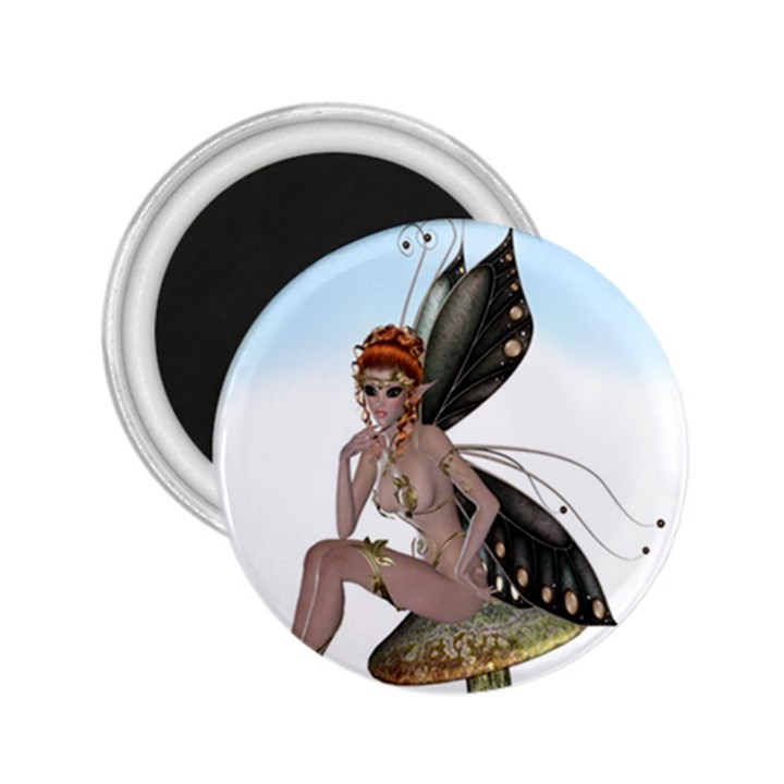 Fairy Sitting On A Mushroom 2.25  Button Magnet