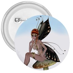 Fairy Sitting On A Mushroom 3  Button by goldenjackal