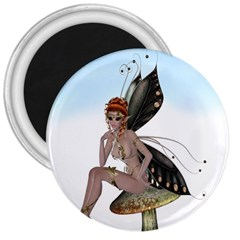 Fairy Sitting On A Mushroom 3  Button Magnet by goldenjackal
