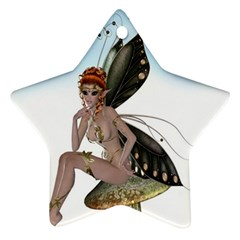 Fairy Sitting On A Mushroom Star Ornament by goldenjackal
