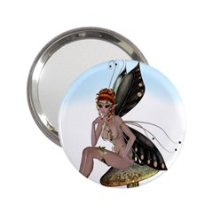 Fairy Sitting On A Mushroom Handbag Mirror (2 25 ) by goldenjackal