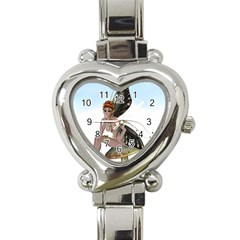 Fairy Sitting On A Mushroom Heart Italian Charm Watch  by goldenjackal
