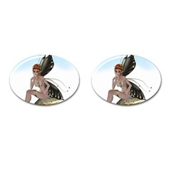 Fairy Sitting On A Mushroom Cufflinks (oval) by goldenjackal