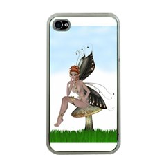 Fairy Sitting On A Mushroom Apple Iphone 4 Case (clear)