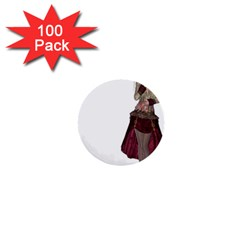 Steampunk Style Girl Wearing Red Dress 1  Mini Button (100 Pack) by goldenjackal