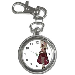 Steampunk Style Girl Wearing Red Dress Key Chain & Watch by goldenjackal