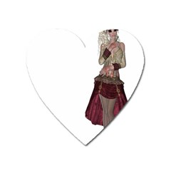Steampunk Style Girl Wearing Red Dress Magnet (heart) by goldenjackal