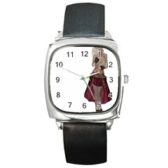 Steampunk Style Girl Wearing Red Dress Square Leather Watch by goldenjackal