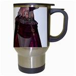 Steampunk Style Girl Wearing Red Dress Travel Mug (White) Right