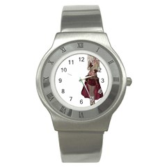 Steampunk Style Girl Wearing Red Dress Stainless Steel Watch (slim) by goldenjackal
