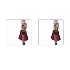 Steampunk Style Girl Wearing Red Dress Cufflinks (square)