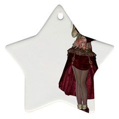 Steampunk Style Girl Wearing Red Dress Star Ornament (two Sides) by goldenjackal