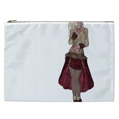 Steampunk Style Girl Wearing Red Dress Cosmetic Bag (xxl) by goldenjackal