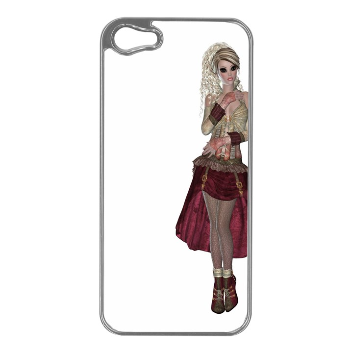 Steampunk Style Girl Wearing Red Dress Apple iPhone 5 Case (Silver)