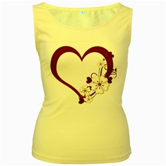 Red Love Heart With Flowers Romantic Valentine Birthday Women s Tank Top (yellow)