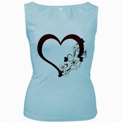 Red Love Heart With Flowers Romantic Valentine Birthday Women s Tank Top (baby Blue) by goldenjackal
