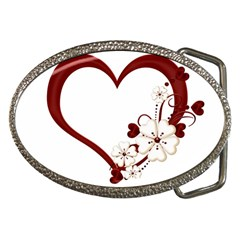 Red Love Heart With Flowers Romantic Valentine Birthday Belt Buckle (oval) by goldenjackal