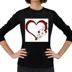 Red Love Heart With Flowers Romantic Valentine Birthday Women s Long Sleeve T-shirt (dark Colored) by goldenjackal