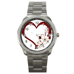 Red Love Heart With Flowers Romantic Valentine Birthday Sport Metal Watch by goldenjackal