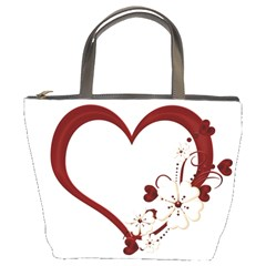 Red Love Heart With Flowers Romantic Valentine Birthday Bucket Handbag by goldenjackal