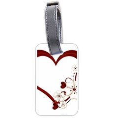 Red Love Heart With Flowers Romantic Valentine Birthday Luggage Tag (two Sides)