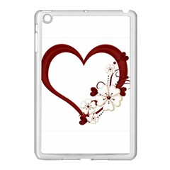 Red Love Heart With Flowers Romantic Valentine Birthday Apple Ipad Mini Case (white) by goldenjackal