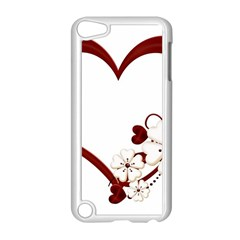 Red Love Heart With Flowers Romantic Valentine Birthday Apple Ipod Touch 5 Case (white) by goldenjackal