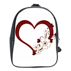 Red Love Heart With Flowers Romantic Valentine Birthday School Bag (xl) by goldenjackal