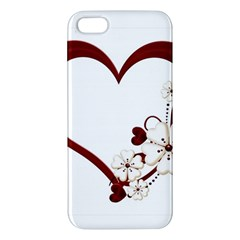 Red Love Heart With Flowers Romantic Valentine Birthday Iphone 5 Premium Hardshell Case