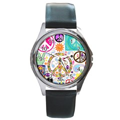 Peace Collage Round Leather Watch (silver Rim)