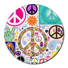 Peace Collage 8  Mouse Pad (round)