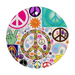 Peace Collage Round Ornament
