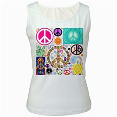Peace Collage Women s Tank Top (white)