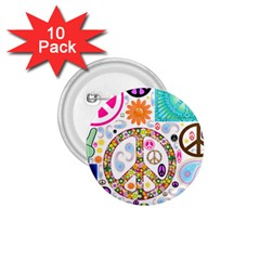 Peace Collage 1 75  Button (10 Pack)