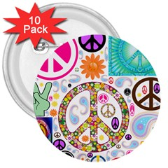 Peace Collage 3  Button (10 Pack)