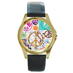Peace Collage Round Leather Watch (gold Rim)