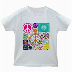 Peace Collage Kids T Shirt (white)