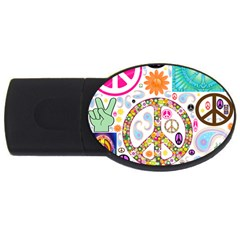 Peace Collage 2gb Usb Flash Drive (oval)