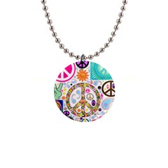 Peace Collage Button Necklace