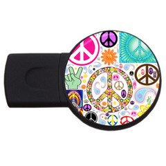 Peace Collage 4gb Usb Flash Drive (round) by StuffOrSomething