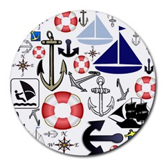 Nautical Collage 8  Mouse Pad (round) by StuffOrSomething