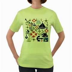 Nautical Collage Women s T Shirt (green) by StuffOrSomething