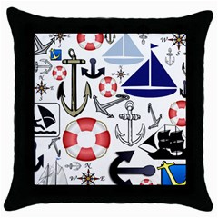 Nautical Collage Black Throw Pillow Case by StuffOrSomething