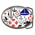 Nautical Collage Belt Buckle (Oval) Front