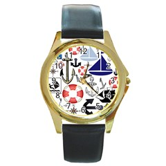 Nautical Collage Round Leather Watch (gold Rim)  by StuffOrSomething