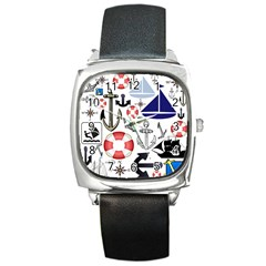 Nautical Collage Square Leather Watch by StuffOrSomething